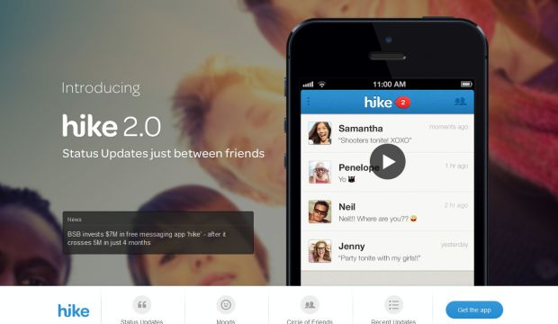 Hike - Status Updates just between friends