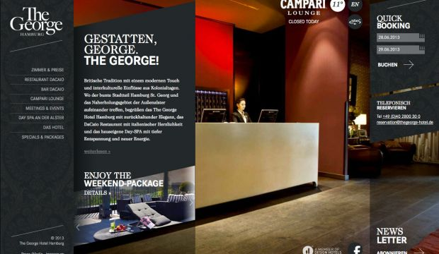 The George Design Hotel Hamburg Webdesign Inspiration