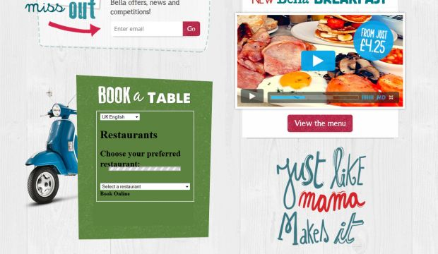 Bella italia italian restaurant webdesign inspiration