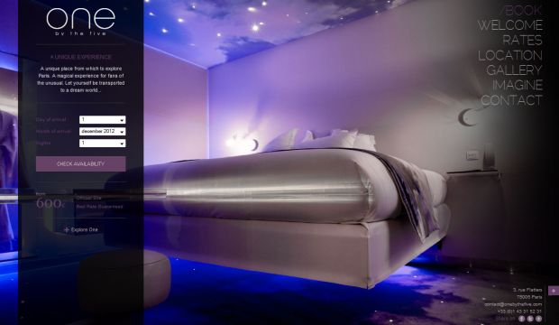 One by the five hotel paris designer room and boutique for Hotel web design