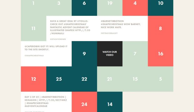Typography Advent Calendar : Its a shape christmas interactive advent calendar